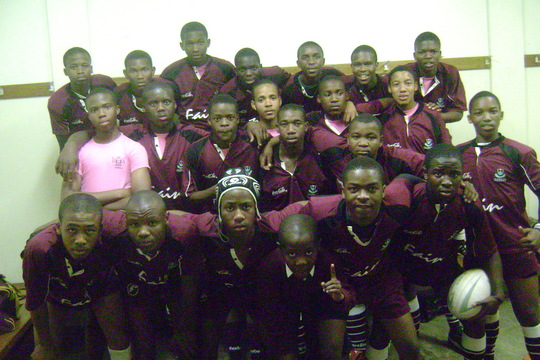 Our Rugby boys preparing for their match