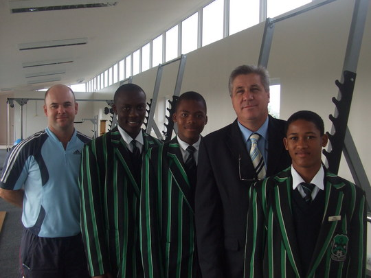With the school's sports convener and headmaster