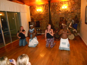 The girls trying out some African Dancing