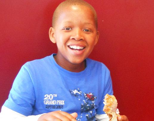 Tisetso enjoying lunch at KFC