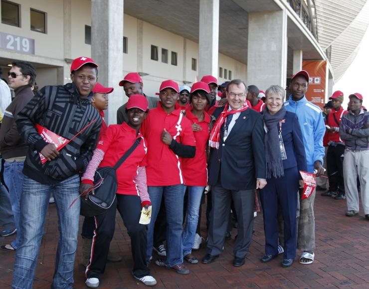 Beneficiaries at stadium supporting Switzerland