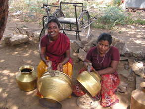 Disabled sisters  working on livelihood-Brass pot