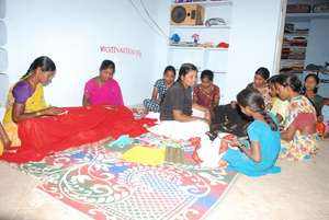 Disabled girls being trained in hand embroidary