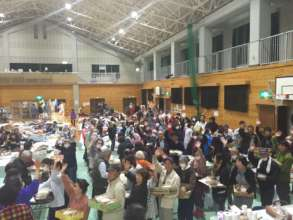 People in an emergency shelter in Mashikimachi