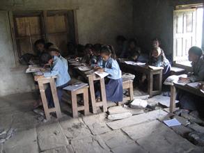 Crumbling classroom at the Mahakali school now under repair.