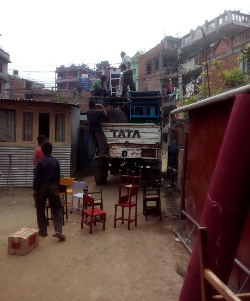 Delivering furniture at Durga School.