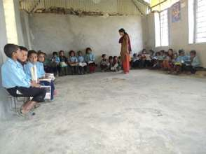 students in a new classroom at Dhadkharka School