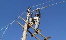Repair village electricity line