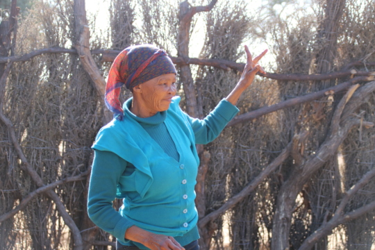 Lys inside the kraal sharing her vision
