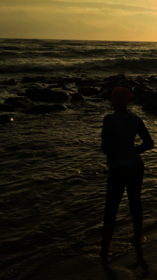 Bushman healer praying at dawn ceremony