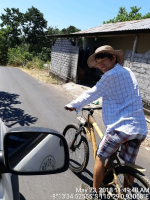 Testing the route with our bamboo Mountain Bike