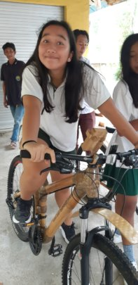 Dyatmika high school student riding the bike