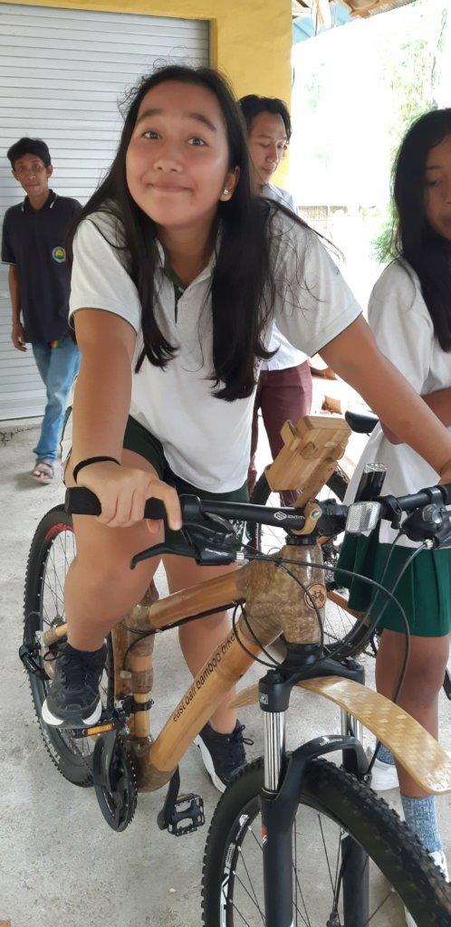 Dyatmika high school student riding the bike