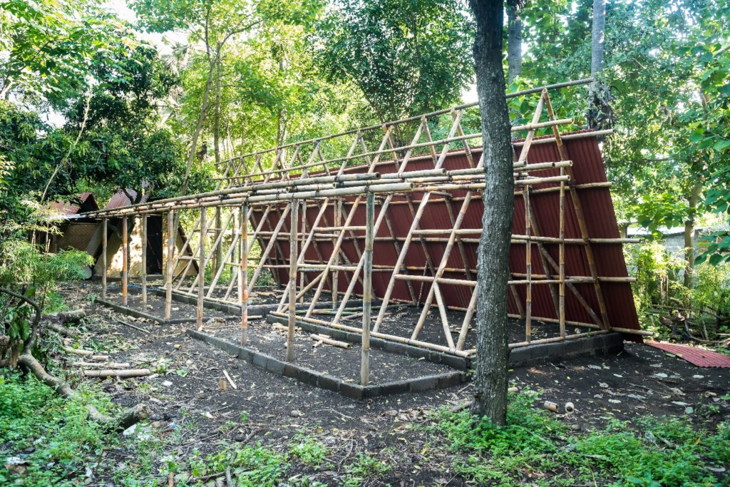 Bamboo A-frame house before cladding