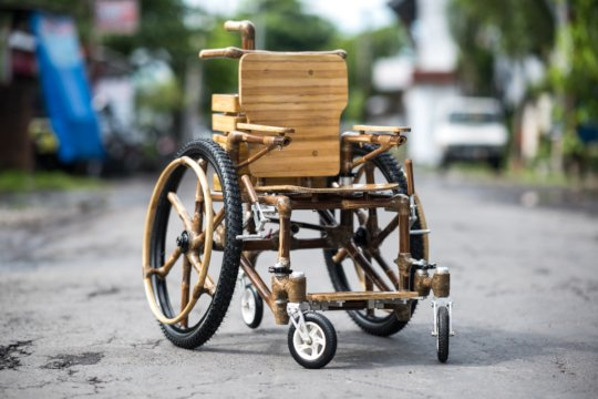 Bamboo wheelchair ready for the road