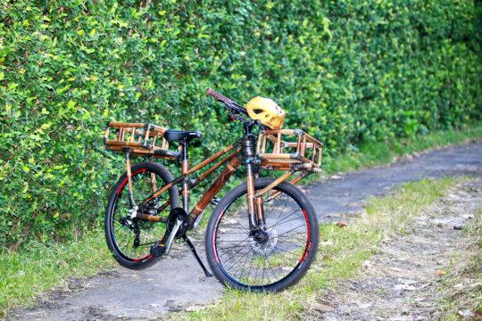 Black baamboo bike with front & rear bamboo basket