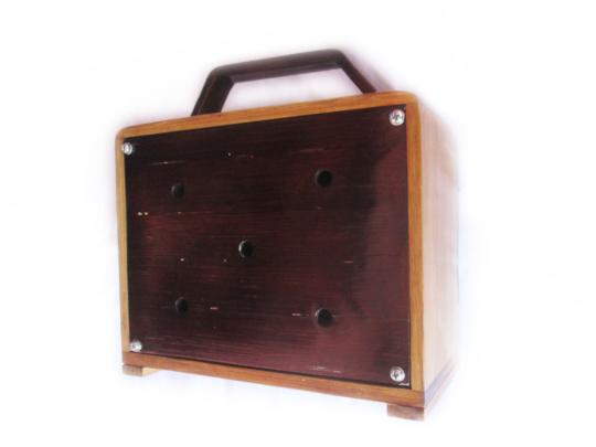 Back side of bamboo radio box