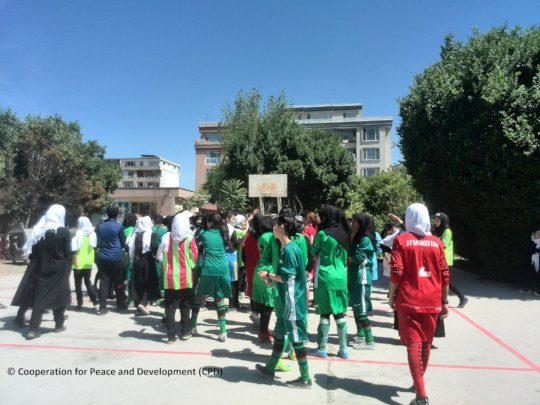 Sport activities at a girl school of Kabul city