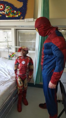 SK meeting his superhero!