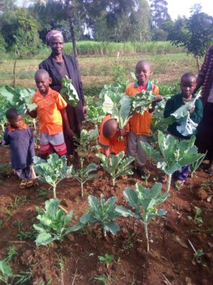 Children enjoying picking some fresh vegetables