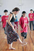 Guest teacher show students Swing Dance