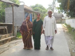 Sasanka and his wife with health worker