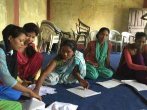 Women in Bardiya working on their quilts