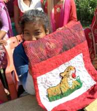 Kancham, proud of her Tiger bag!