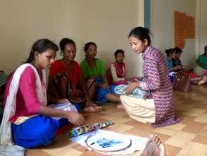 Sarita gives embroidery training in Bardiya