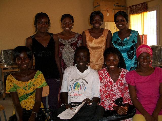 Fana, back left, with classmates