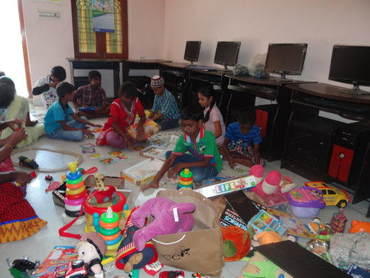 Children with educational toys
