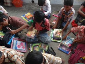 Children with education material