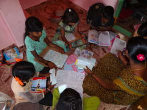 Children with educational Cards