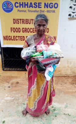 food groceries to neglected elderly women
