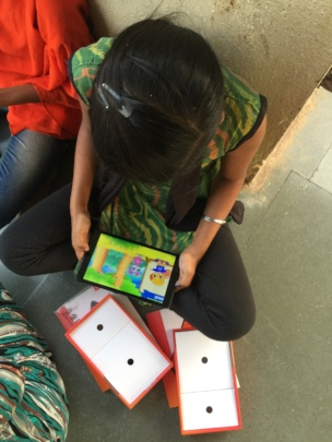 Educational games on tablets helping girls study