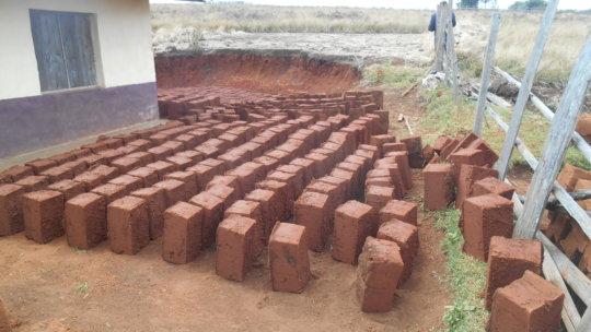 Sun dry Bricks for addition block