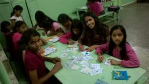 Girls making Christmas Cards