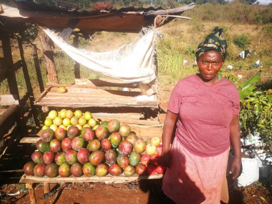 Women sale mango