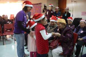 Children volunteers visited home for elderly