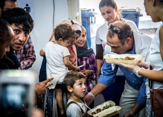 Atmosphere at refugee camp - lunch time