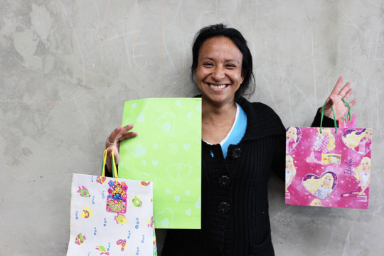 Nubia with her hand-crafted gift bags.