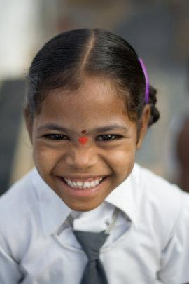 Shirsha in her school uniform in Kurnool, India