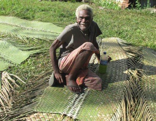 Tanna Elder on Woven Coconut Mats