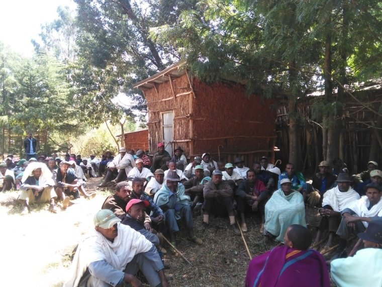 Farmers participate in a training on tree planting