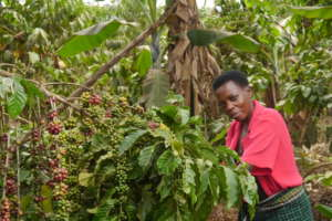 Grace on her farm in Uganda