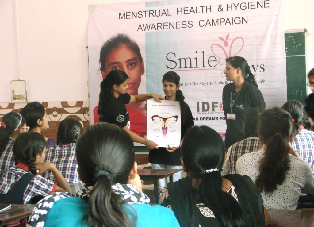 Addressing school girls during workshop
