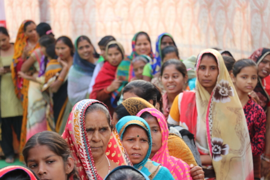 Women during awareness workshop on MHM