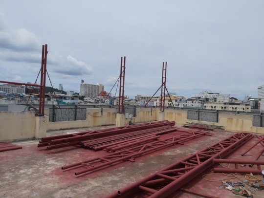 Part of the new roof structure is going up