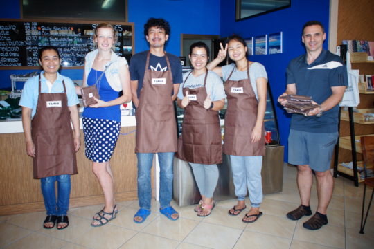 Our Restaurant Team with new Aprons