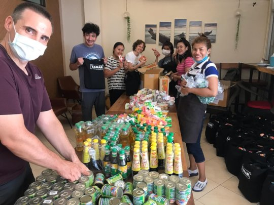 Tamar Team packing the food bags